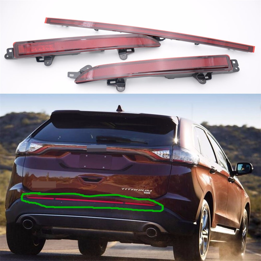 1Set Red Lens Rear Fog Lamps Light Tail Bumper Reflector For Ford Edge 2015-2016
