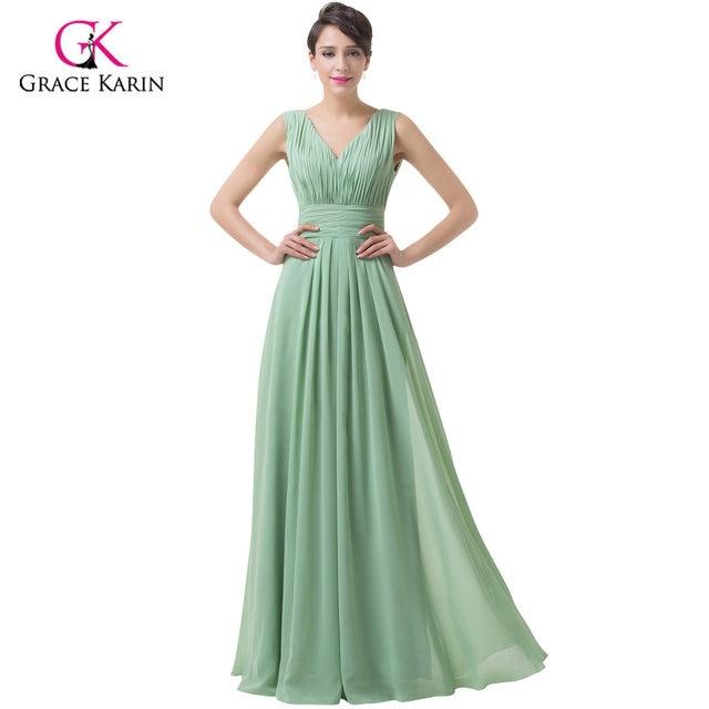Online Shop Grace Karin Dark Sea Green Chiffon Long Prom Dresses ...