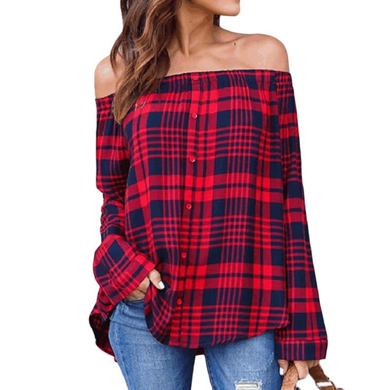 Brand Tee Long Sleeve Cotton Plaid Shirt Flannel Shirt Loose Tee Off Shoulder Tops Tees Slash Neck Plus Size Tee Tops