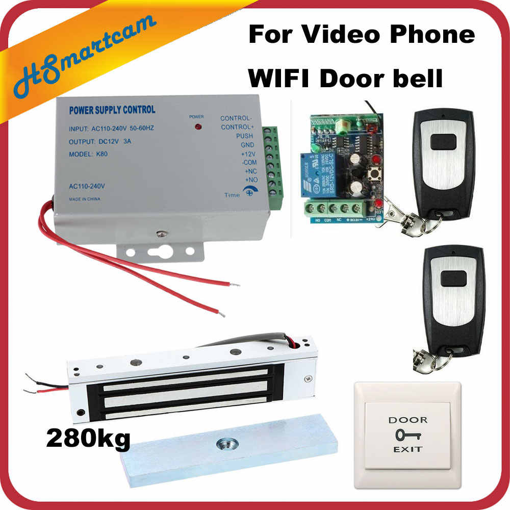 wireless remote control electric strike lock kit access power supply for wifi ip doorbell video [ 1000 x 1000 Pixel ]