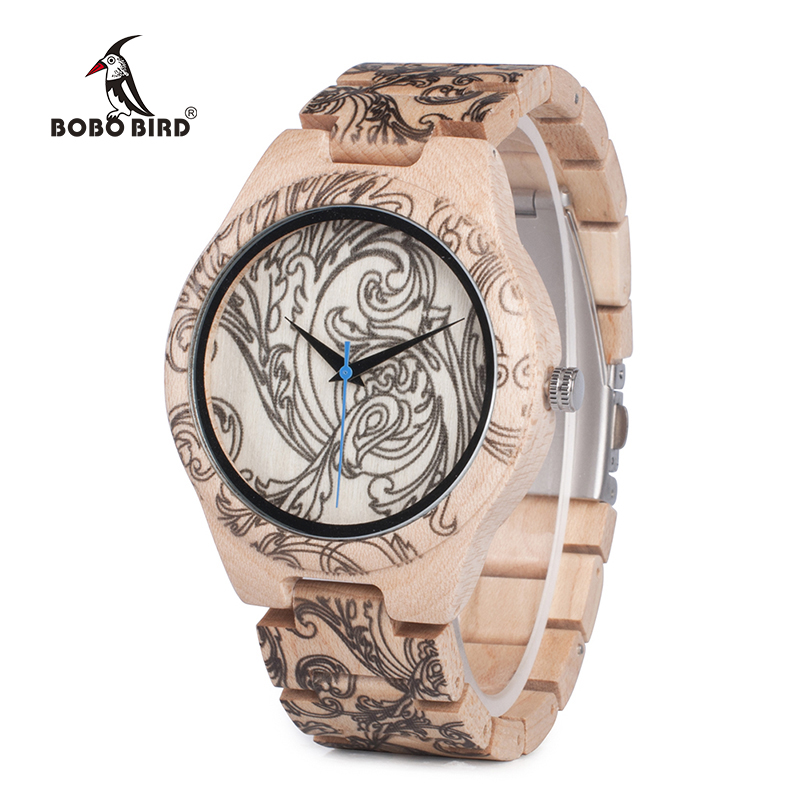 BOBO BIRD WO07 Pine Wooden Quartz Watches for Men UV Printing Tattoo Watch In Wood Box With Tool For Adjust Size Dropshipping bobo bird brand new wood sunglasses with wood box polarized for men and women beech wooden sun glasses cool oculos 2017