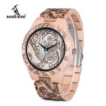Bobo pássaro wo07 pinho relógios de quartzo de madeira para homem impressão uv tatuagem relógio na caixa de madeira com ferramenta para ajustar o tamanho dropshipping