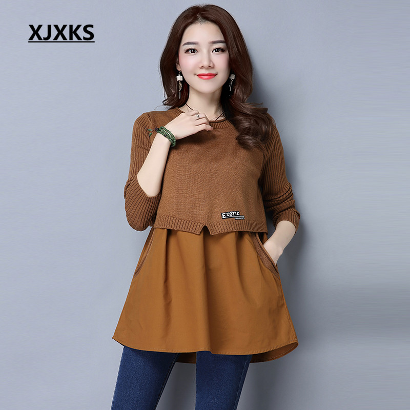 XJXKS Women Sweaters And Pullovers Solid Cashmere Chiffon Patchwork Casual knit Spring Autumn Pockets Woman Sweater 01171