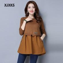 Xjxks女性セーターやプルオーバー固体カシミヤシフォンパッチワークカジュアルニット春秋ポケット女性のセーター01171