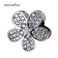 Authentic 925 Sterling Silver Bead Charm Cute Daisy Flower With Full Crystal Beads Fit Women Pandora