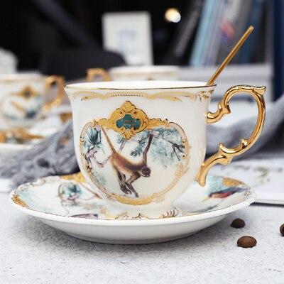 Новое поступление фарфоровая кофейная чашка набор джунглей животных кофейная чашка и блюдце Птица Обезьяна Стиль Золотая кость Китай чайная чашка - Цвет: 02
