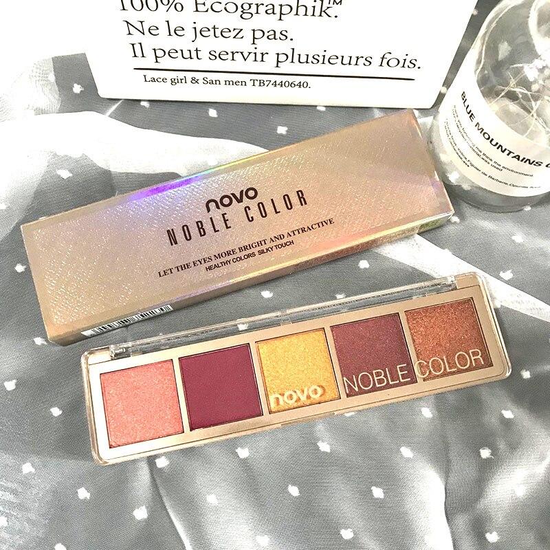 Novo 5 cores multicolorido olho sombra paleta de longa duração à prova dlong água fosco shimmer sombra em pó cosméticos profissional