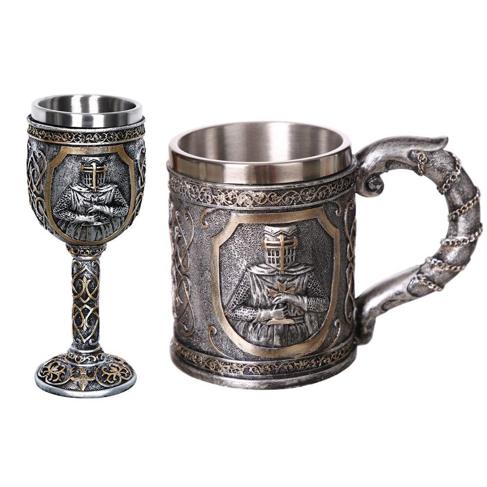 1 piezas 304 de calavera de acero inoxidable taza de café Viking cráneo cerveza Steins regalo para hombre Día del Padre Regalos de Halloween bar casa Decoración