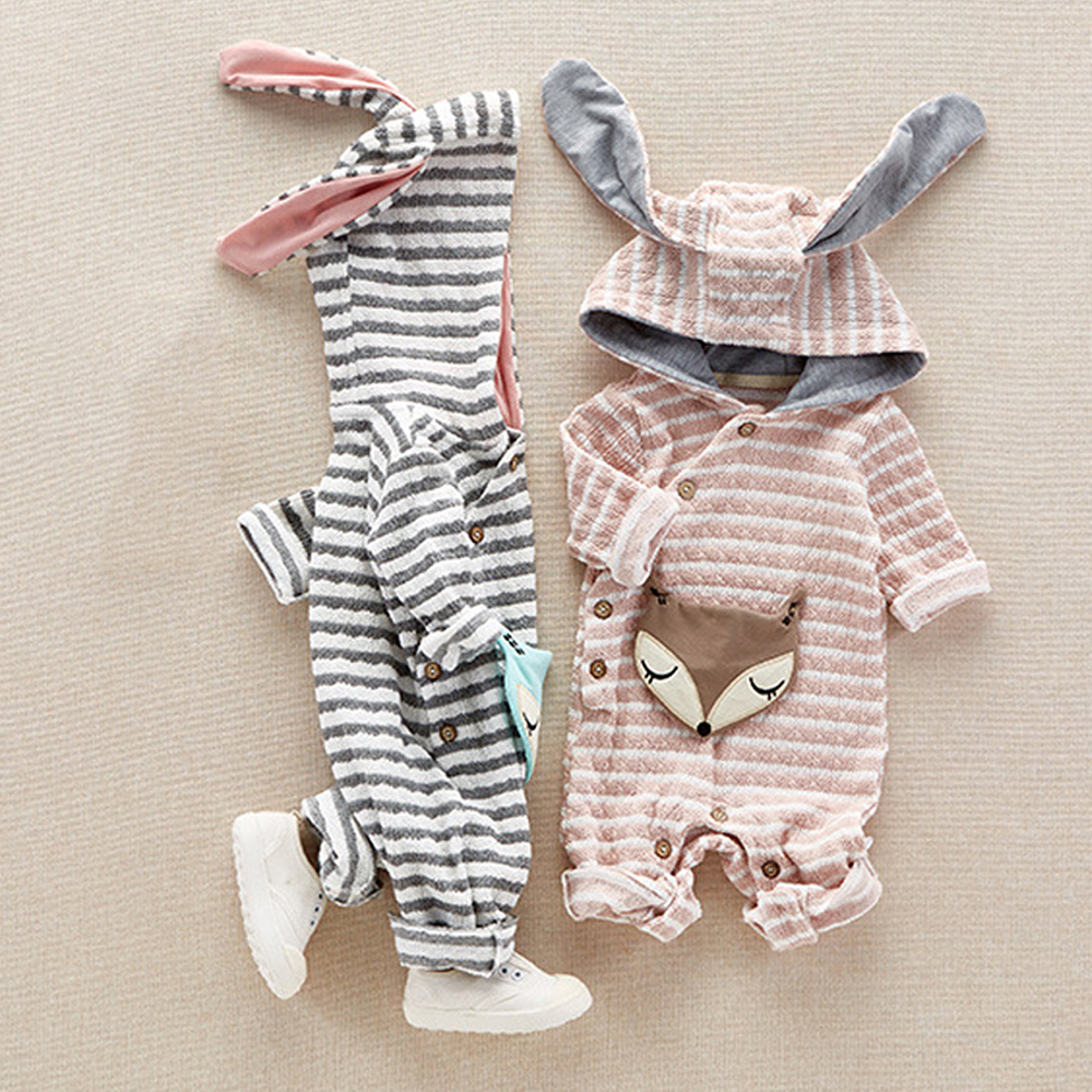 Cute Rabbit Ear Winter Stripe Hooded Baby Rompers For Baby Boy Girl Clothes Newborn Clothing Jumpsuit Infant Costume Baby Outfit цена
