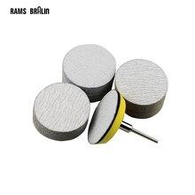 """60 peças 2 """"disco de lixamento abrasivo seco p80 p240 p320 + 1 peça 3mm suporte do eixo para dremel broca ferramenta elétrica"""