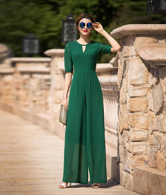 Formal Jumpsuit for Women Summer Evening Party Chiffon Elegant Green Full Length Rompers Plus Size 3XL 4XL