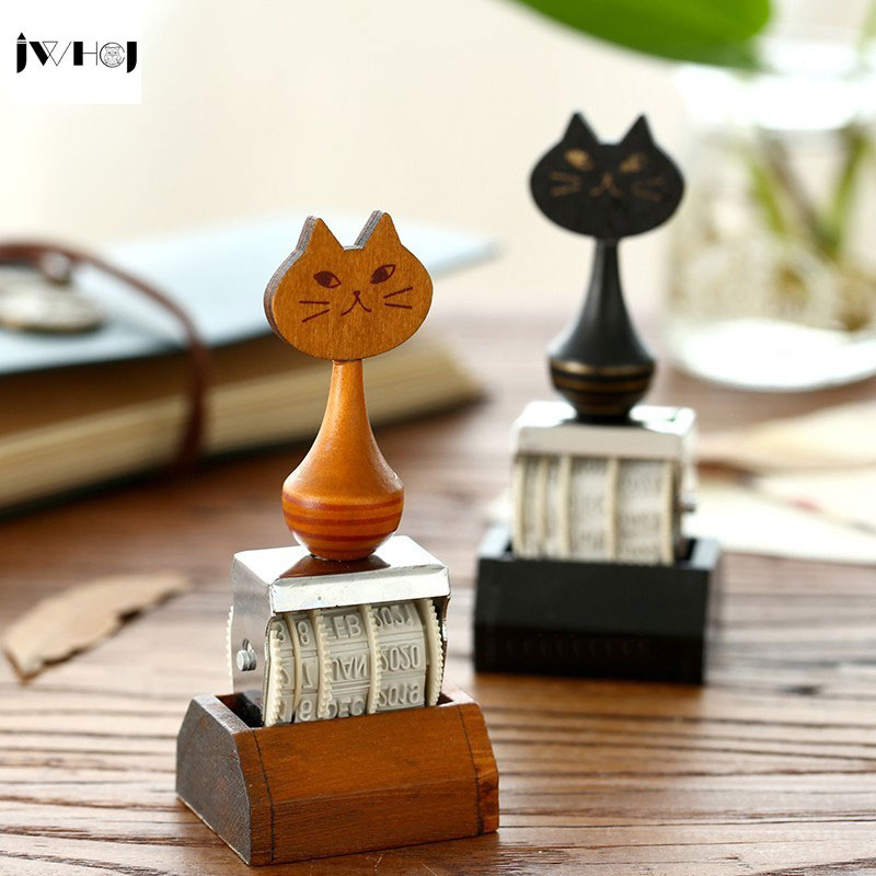 JWHCJ vintage cat date wood roller Stamps for children DIY Handmade Scrapbook Photo Album diary book decoration, students Stamps jamie notes cute cat stamps roller date stamps to school seal retro stamp notebook personal diary diy accessories 2015 2026 year