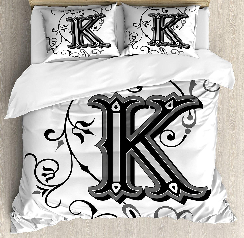 Буква K постельное белье, прописные K с Дизайн от средневековые времена письмо знак алфавита узор, 4 шт. Постельное белье