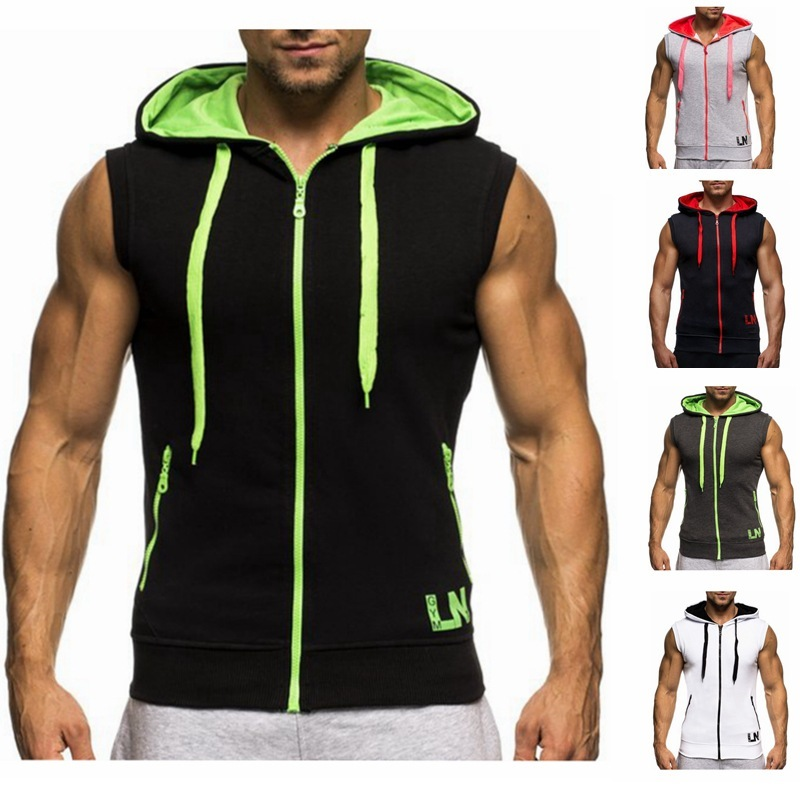 Mens Sleeveless Sweatshirt Hoodies  Clothing T-Shirt Hooded Tank Top Sporting Hooded for Men Cotton Solid T Shirts
