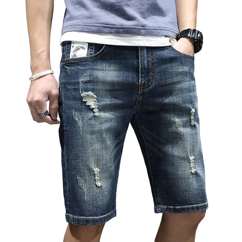 Men Summer Thin Short Jeans Straight Slim Casual Jean Shorts Male Holes Short Jeans High Quality Men Cotton Blue Denim Shorts