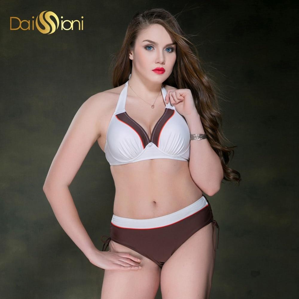ФОТО Sexy Brazilian Biquinis Plus Size Swimwear Women 2017 High Waist Swimsuits Halter Top Bikini Set Push Up Bathing Sports Suit