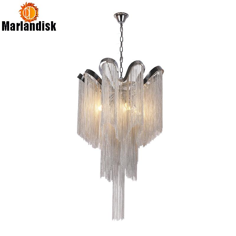 Modern Aluminum Pendant Lamp Luxury Aluminum Chains E14 Base Indoor Hanging Light For Bar Dining Room Living Room Bedroom(DQ-50)