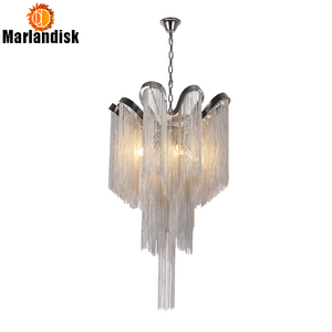 Image 1 - Modern Aluminum Pendant Lamp Luxury Aluminum Chains E14 Base Indoor Hanging Light For Bar Dining Room Living Room Bedroom(DQ 50)
