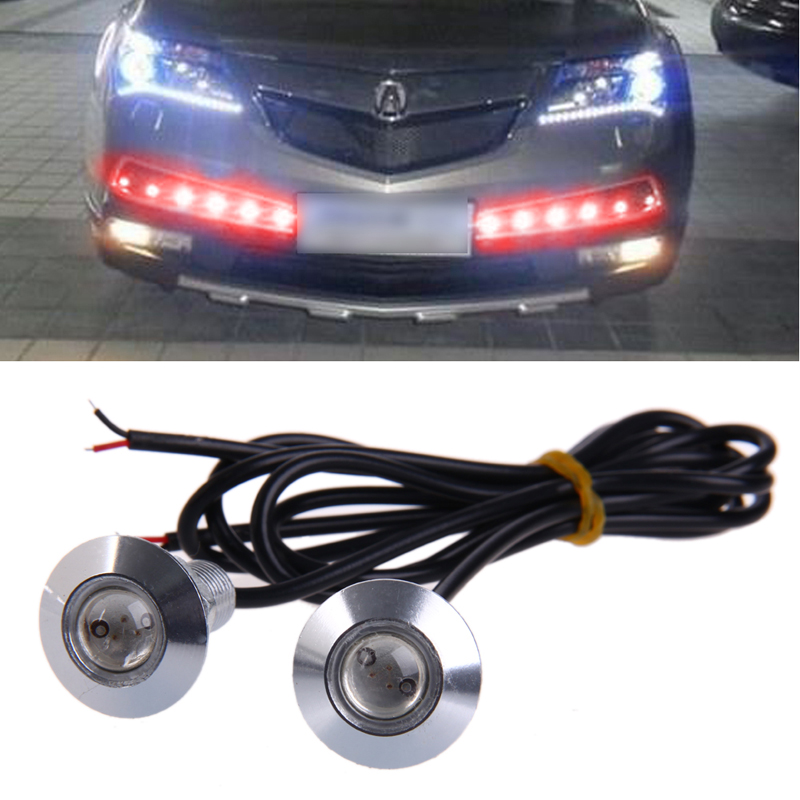 1 Pair DC 12V 23mm Eagle Eye LED Daytime Running DRL Light Car Auto Lamp Red new arrival a pair 10w pure white 5630 3 smd led eagle eye lamp car back up daytime running fog light bulb 120lumen 18mm dc12v