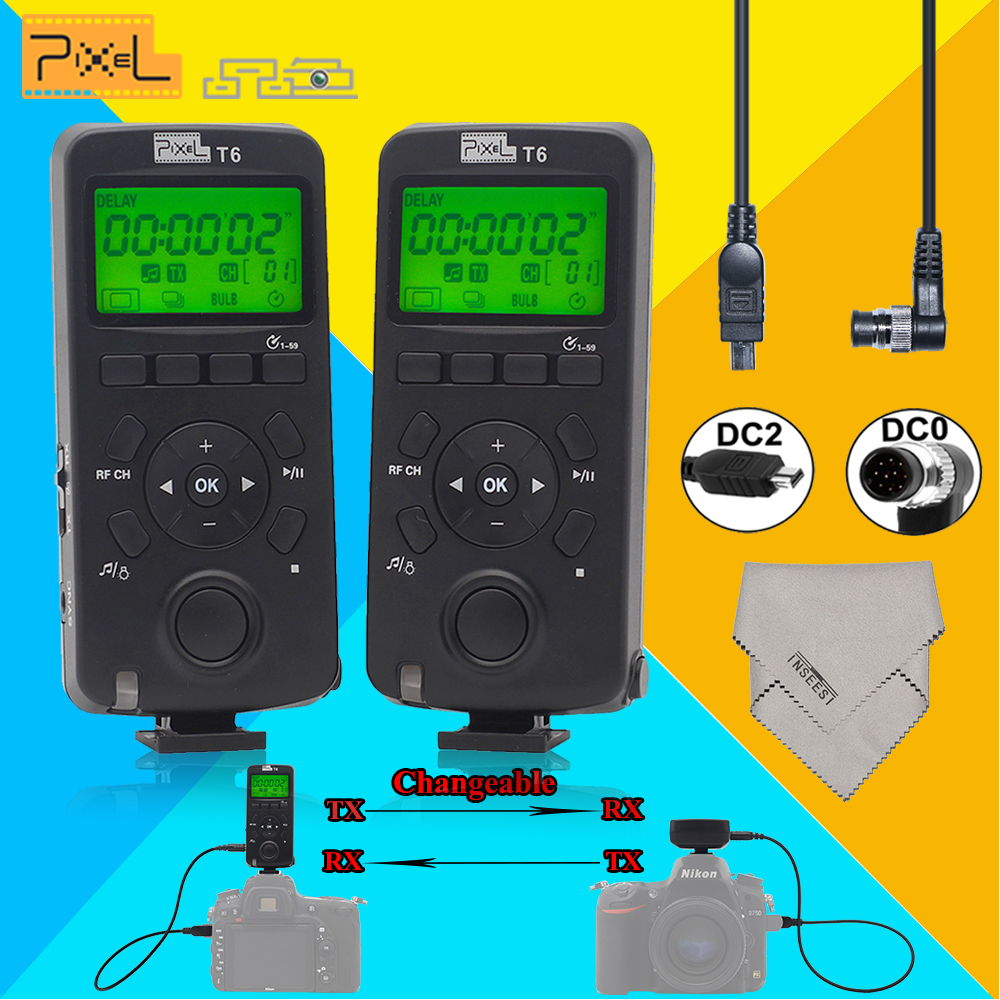 2 x Pixel T6 LCD Wireless Timer Remote Control Transceiver DC0+DC2 Shutter Release Cable For Nikon D3100 D7200 D600 D610 D750 1 lcd wired timer remote switch shutter release for panasonic fz10 15 20 leica more 1 x cr2032