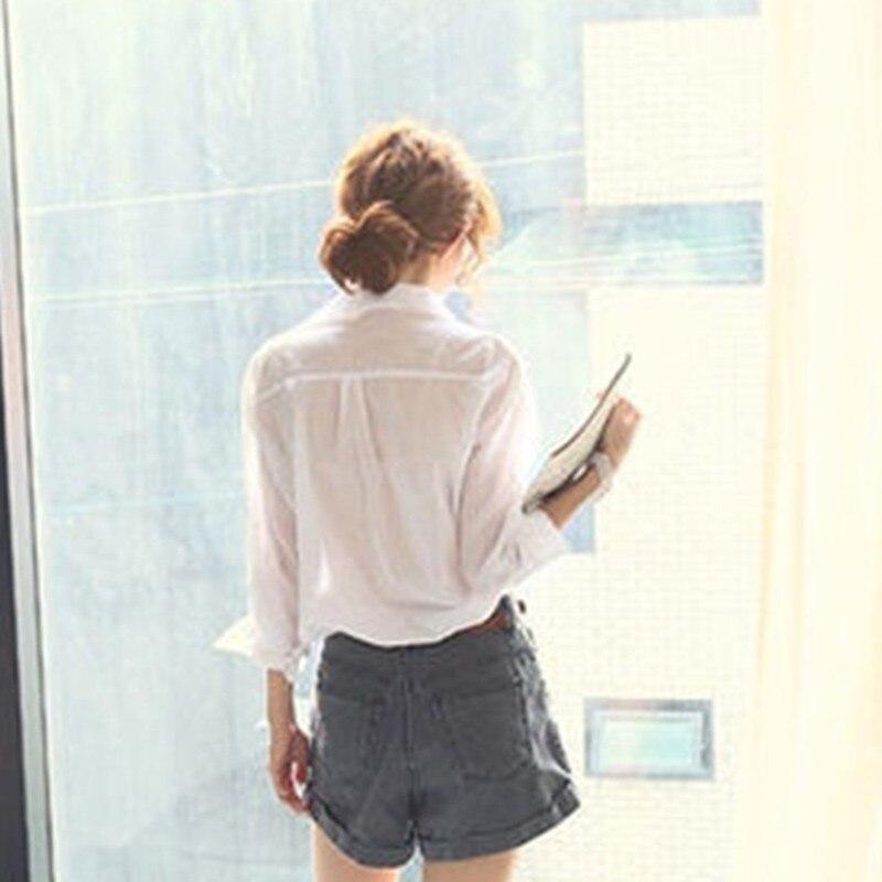 V Coreano Blusa Mujeres Blanco Algodón Tops Ropa White Cuello Moda Casual Verano Camisa Estilo Blusas En Las De Mujer PZcOYO