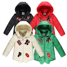 Winter Jacket for Boys and Girls Letter Kids Solid Down Coat Hooded Winter Girls Coat 4