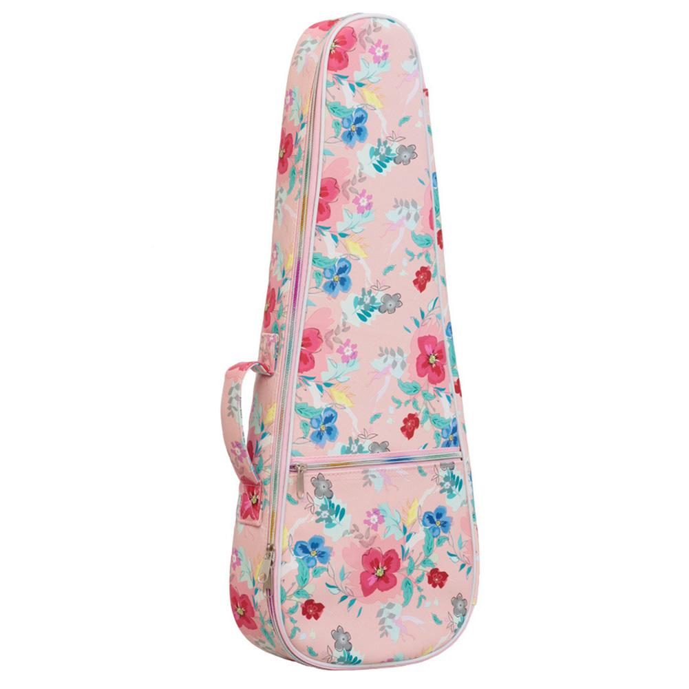 Longteam 21/ 23/ 26 Inch Cartoon Printed Leather Padded Ukulele Bag Hawaii Guitar Backpack With Front Case UB-86