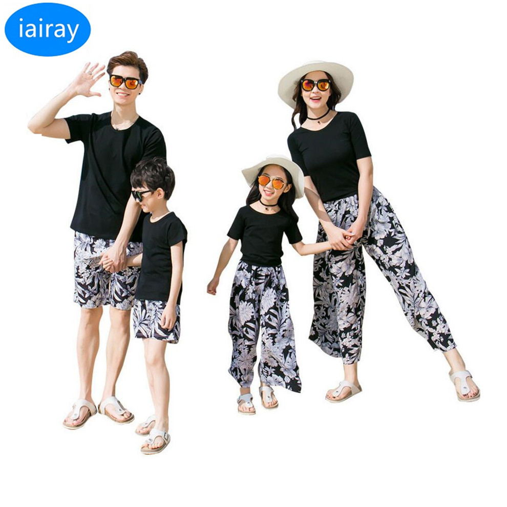 iairay father mother son outfits mom and dauther dress black t shirt women ethnic long l ...