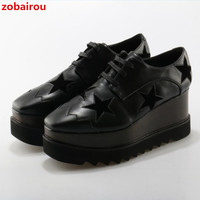 Mancuello European Gold Silver Brogue Shoes Woman Brand Stars Bullock Shiny Leather Lady Derby Shoes Creepers