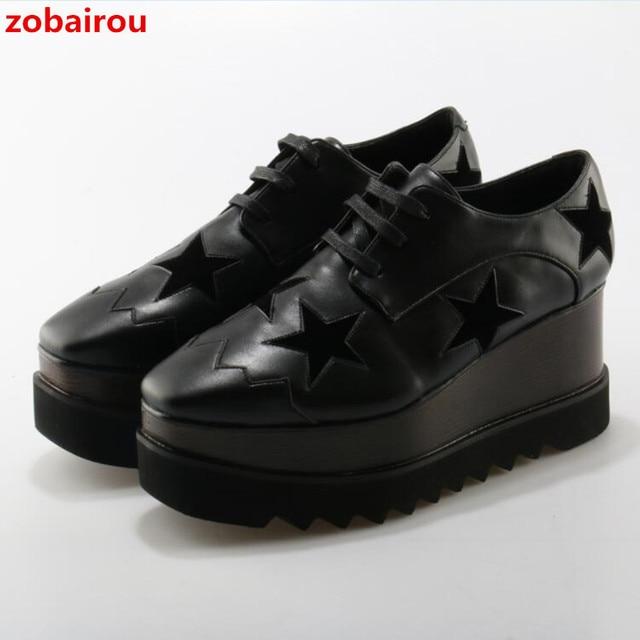 279697d8 € 70.51 50% de DESCUENTO|Zobairou europeo oro/plata Brogue zapatos mujer  marca estrellas Bullock brillante cuero señora Derby zapatos Creepers ...