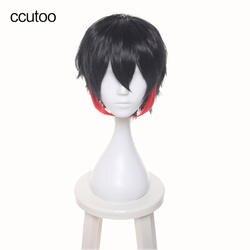 """Ccutoo Для мужчин с коротким 12 """"черный, красный микс Короткие слоистых Синтетические волосы nanbaka detentionhouse jyugo № 15 Косплэй полный Искусственные"""