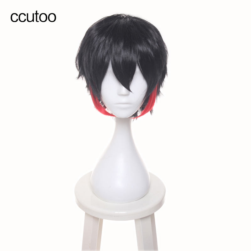 ccutoo Mens Short 12 Black Red Mix Short Layered Synthetic Hair Nanbaka Detentionhouse Jyugo No. 15 Cosplay Full Wigs ...