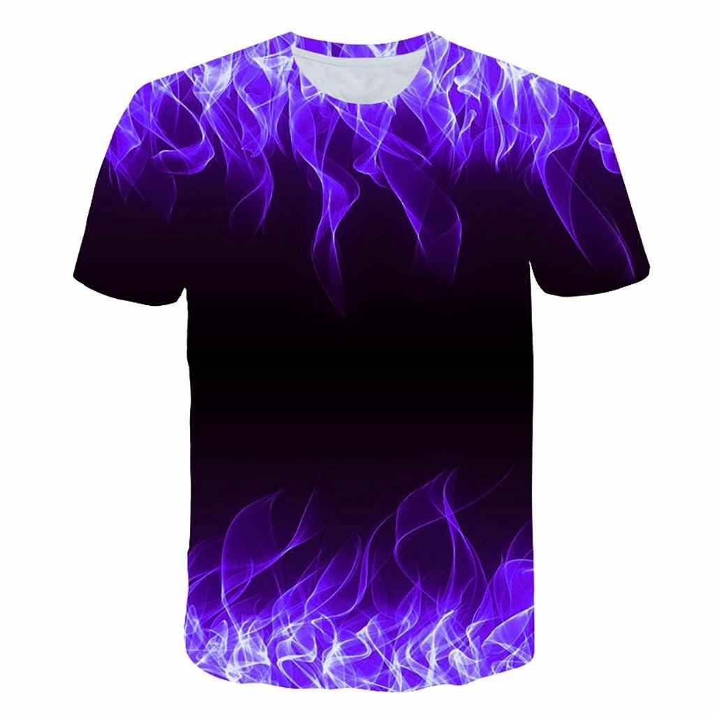 Erkek gömleği Camisetas Yeni Yaz Kısa Kollu Erkek T-shirt Yuvarlak Boyun Mavi Alev 3D baskılı tişört gömlek Camisetas hombre