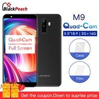 LEAGOO M9 5,5 18:9 полный Экран 3g смартфон четыре камеры Android 7,0 MT6580A 4 ядра 2 ГБ + 16 ГБ 2850 мАч отпечатков пальцев мобильный телефон