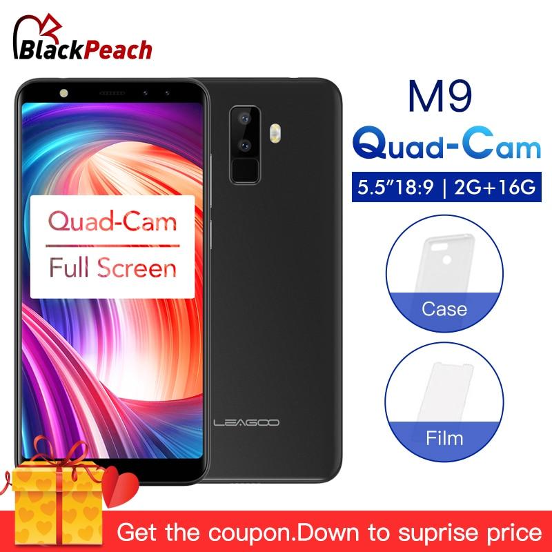 LEAGOO M9 5.5 18:9 Full Screen 3G Smartphone Four-Cams Android 7.0 MT6580A Quad Core 2GB+16GB 2850mAh Fingerprint Mobile Phone