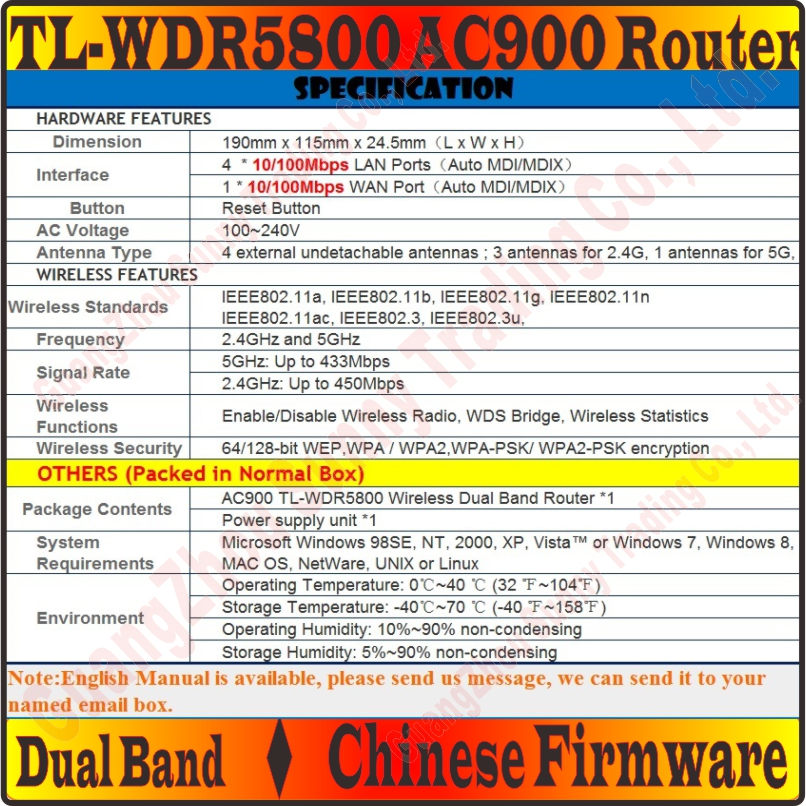 US $48 79  [Chinese Firmware] 4 External Antennas TP LINK Wireless Router  802 11 AC900Mbps Dual Band 2 4GHz + 5GHz Gigabit AC900 Huge WiFi-in  Wireless