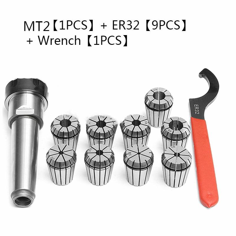 9pcs ER32 Spring Collets Set 2/4/6/8/10/12/16/18/20mm + 1pcs MT2 ER32+1pcs Wrench Collet Chuck Morse Taper Holder Dropshiping