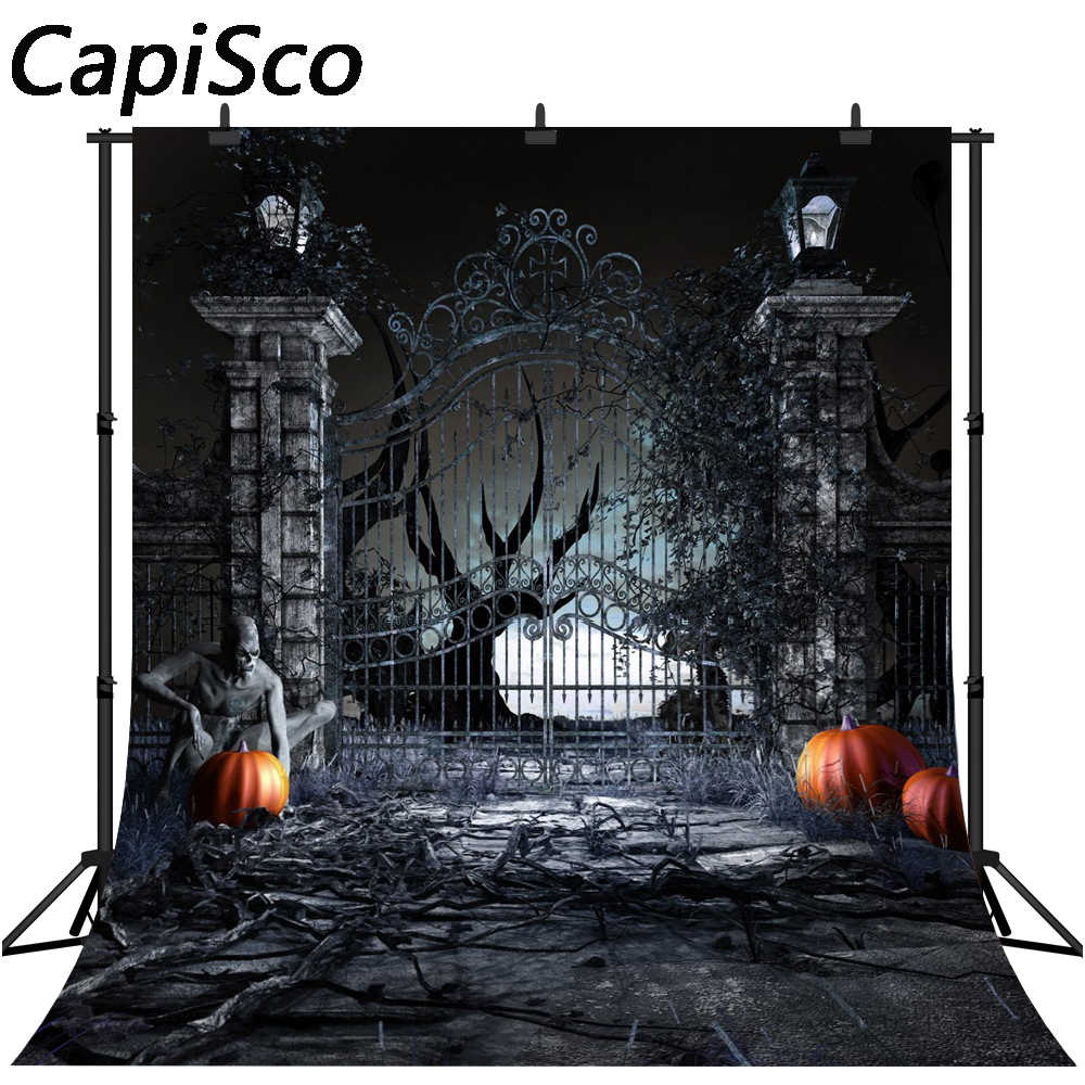 Capisco фотофоны страшный Хэллоуин фон Тыква дверь зомби ночь задний фон фотообои студия фон