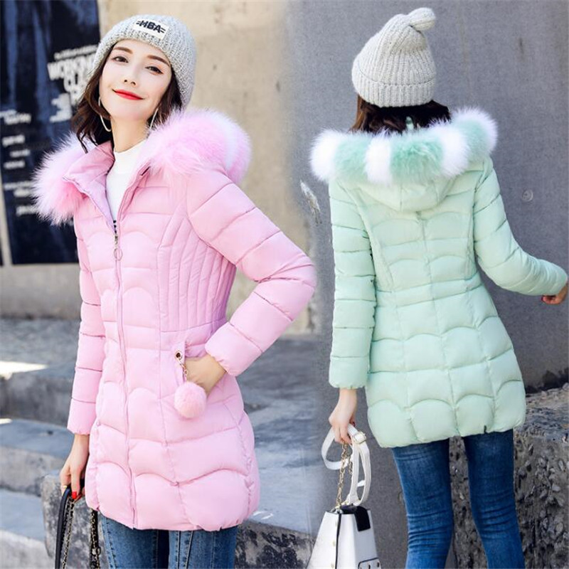 Winter Jacket Ladies Warm Long Down Jacket Ladies Down Jacket Cotton Thickening Ladies Winter Coat Female Coat New 2018