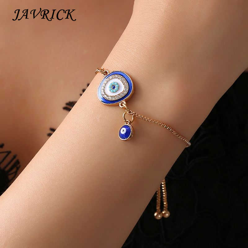 Turkish Lucky Blue Crystal Eye Bracelets Handmade Gold Chains Lucky Jewelry