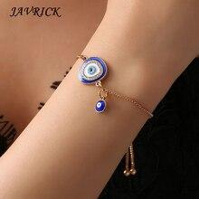 Turkish Lucky Blue Crystal Eye Bracelets Handmade Gold Chains Jewelry