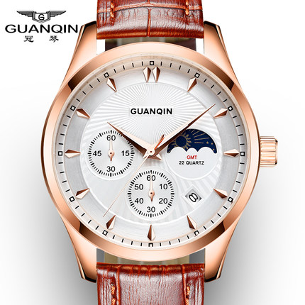 ФОТО Luxury Watch Men Brand GUANQIN Men Chronograph Luminous Clock Male Sport Wristwatch Relogio Masculino Leather Strap Quartz Watch