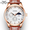 Luxury Watch Men Brand GUANQIN Men Chronograph Luminous Clock Male Sport Wristwatch Relogio Masculino Leather Strap Quartz Watch