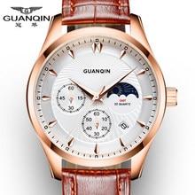 Montre de luxe Hommes Marque GUANQIN Hommes Chronographe Lumineux Horloge Homme Sport Montre-Bracelet Relogio Masculino Bracelet En Cuir Quartz Montre