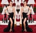 2015 Nova Moda Red Carpet Vestidos Bainha Preto Vestidos de Baile de Prata Satin Frisada de Cristal Longo Strass Vestido de Noite