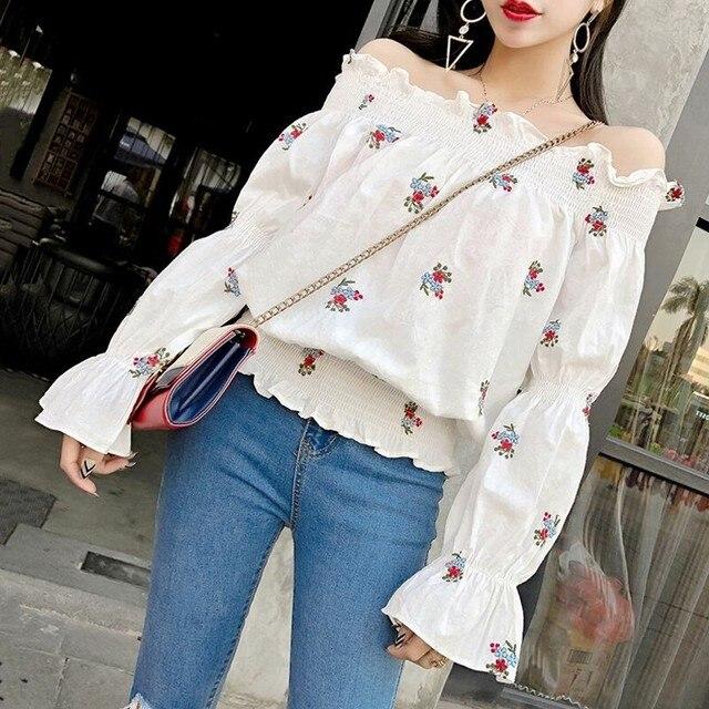 Neploe Blusa Feminina פרחוני רקמה לבן חולצה 2019 קיץ נשים חולצה קוריאני פאף שרוול כבוי כתף גבירותיי חולצות 35443