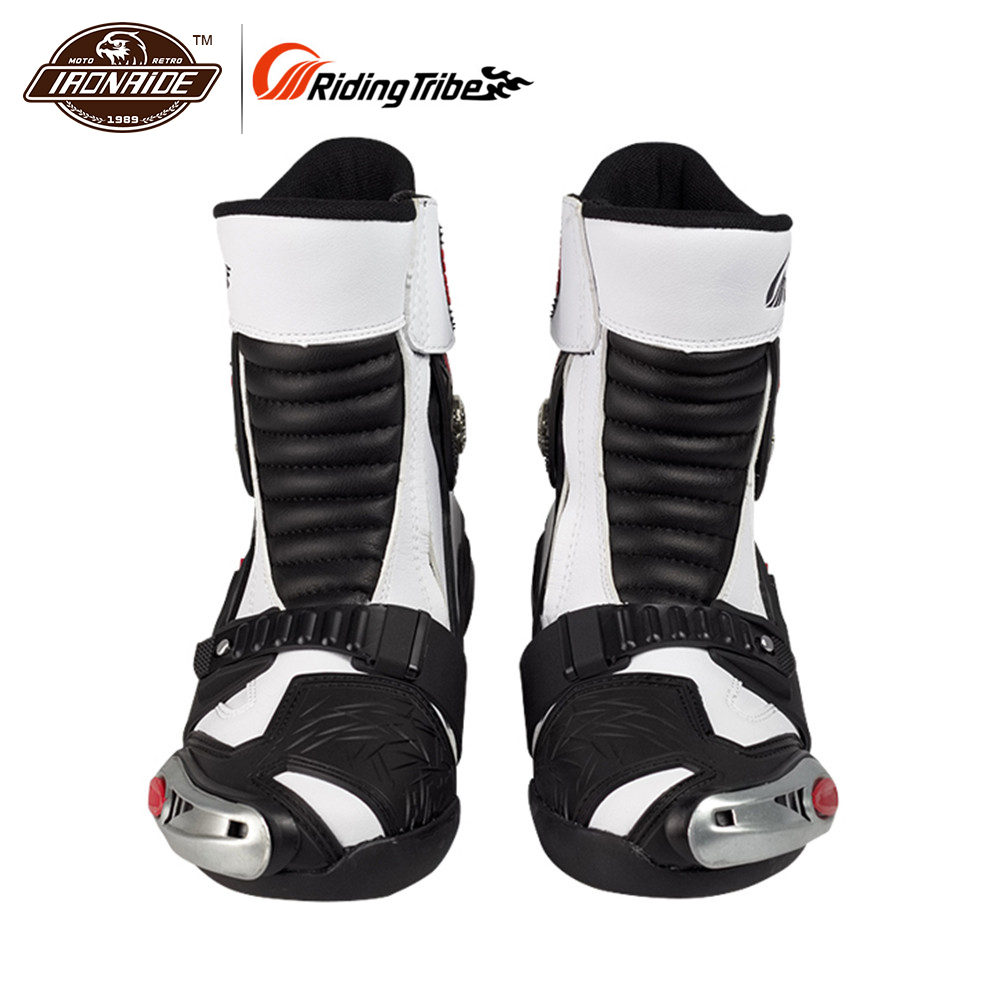 Riding Tribe Riding Motorcycle Road Cycling Racing Shoe Boots Long Riding Boots Men Locomotive Boots Shoes Speeding Boots White