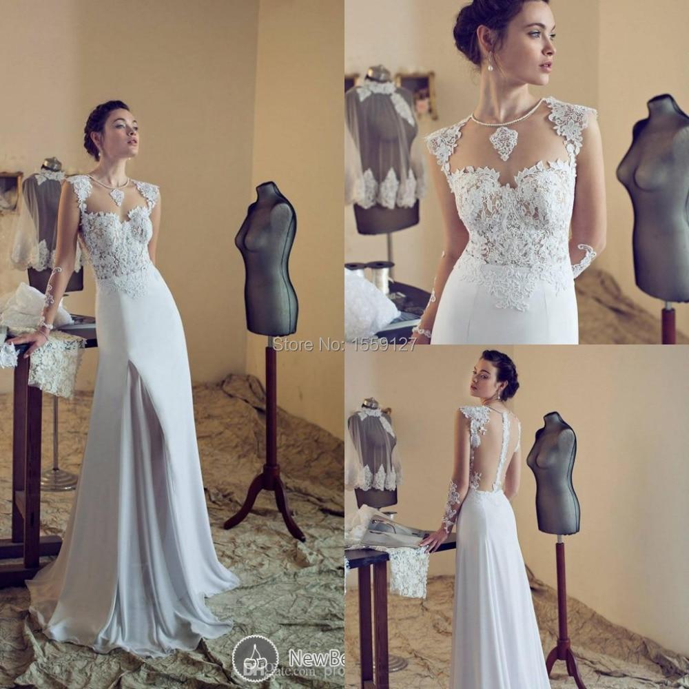 Roman Belavan 2017 Summer Beach Wedding Dress with Sleeves High Neck ...