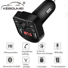Bluetooth 4.2 MP3 Player Handsfree Car Kit FM Transmitter support TF Card U disk QC2.0 3.1A Fast Dual USB Charger Power Adapter(China)