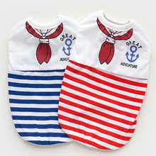 camisa para perritos Spring and summer dog clothes vest red bow tie striped cotton pet